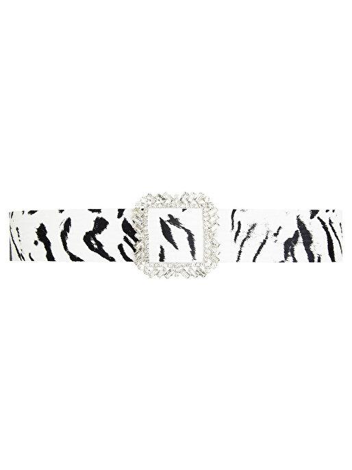 Nocturne Zebra Desen Taşlı Tokalı Kemer