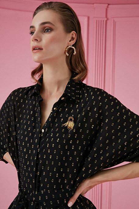 Nocturne Nakış Detaylı Gömlek Yaka Bluz