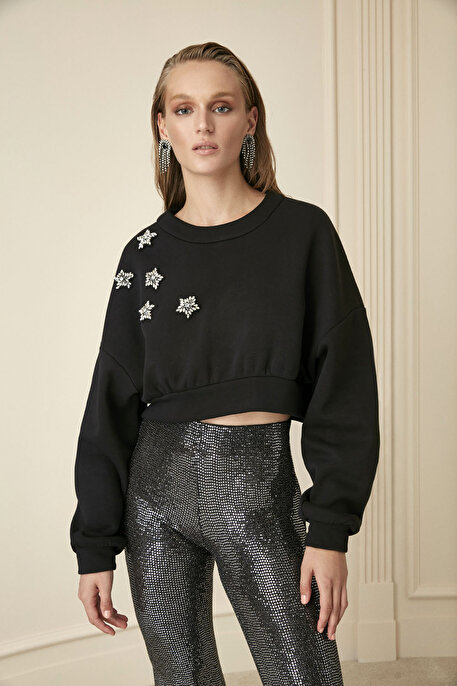 Nocturne Kristal Taş İşlemeli Sweatshirt