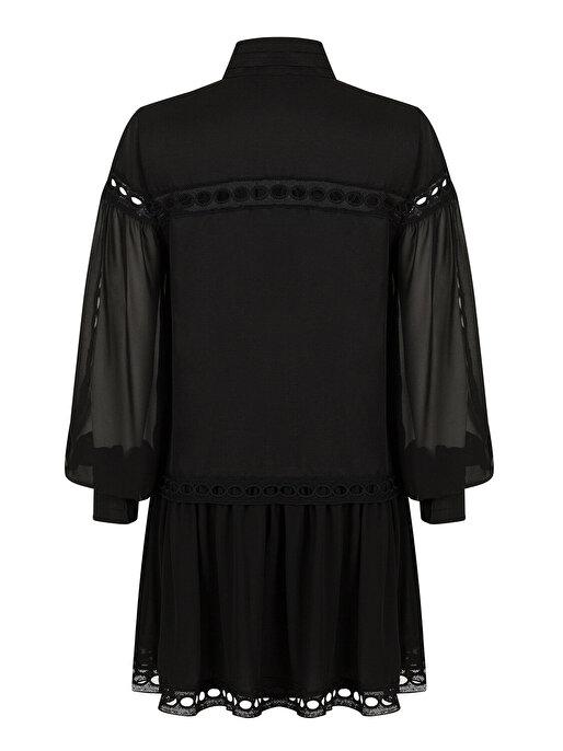 Nocturne Dik Yaka Brode Mini Elbise