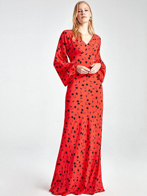 Nocturne Balon Kol Desenli Elbise