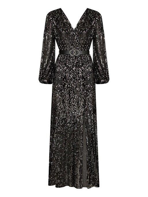 Nocturne Kruvaze Payetli Elbise
