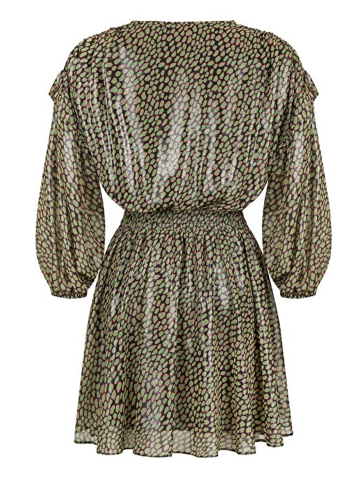 Nocturne Kruvaze Parlak Desenli Mini Elbise