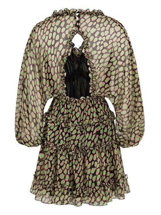 Nocturne Fırfır Şeritli Desenli Mini Elbise