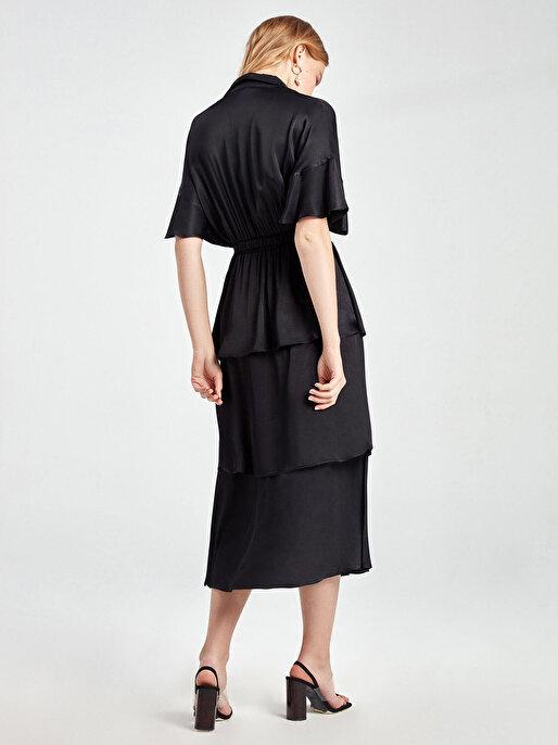 Nocturne Saten Yüzeyli Kat Kat Volanlı Elbise