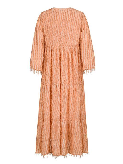 Nocturne Saçaklı Balon Kol Elbise