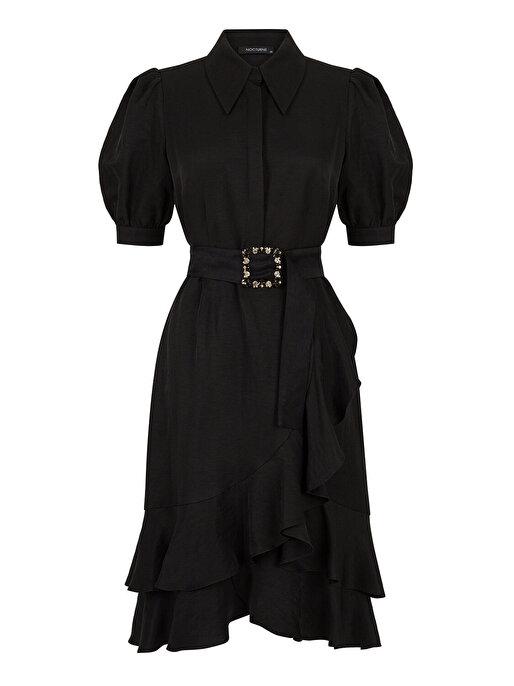 Nocturne Karpuz Kol Volanlı Elbise