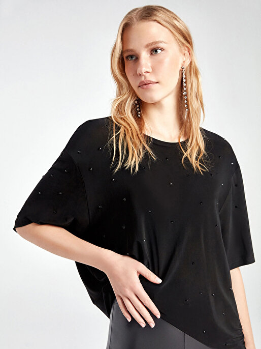 Nocturne Serpme Kristal Taş Detaylı Tişört