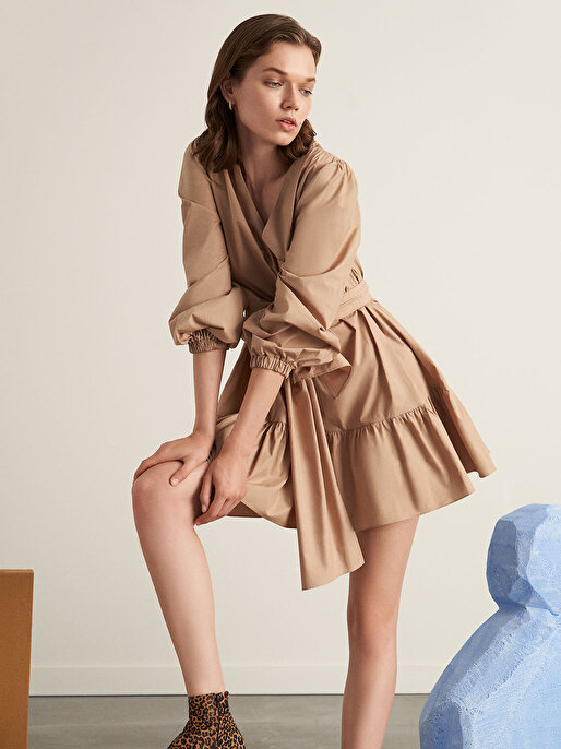 Nocturne Volanlı Poplin Elbise