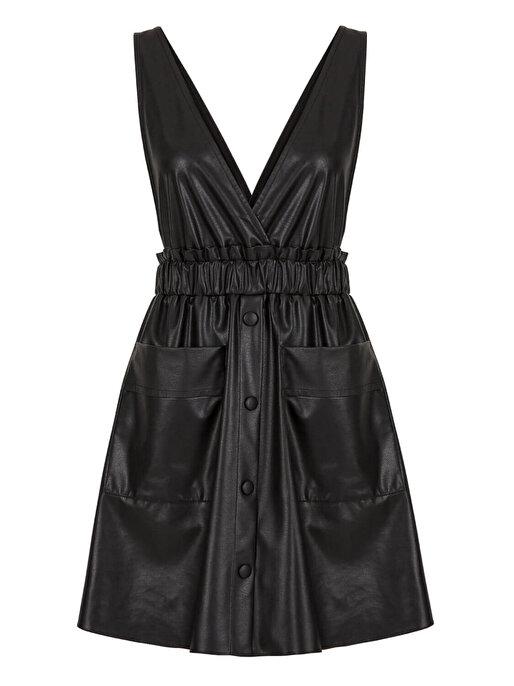 Nocturne Askılı Deri Elbise