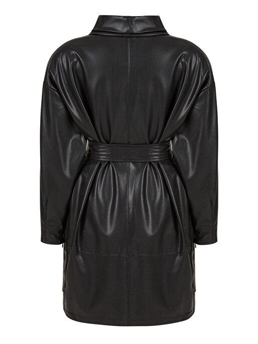 Nocturne Dik Yakalı Deri Elbise