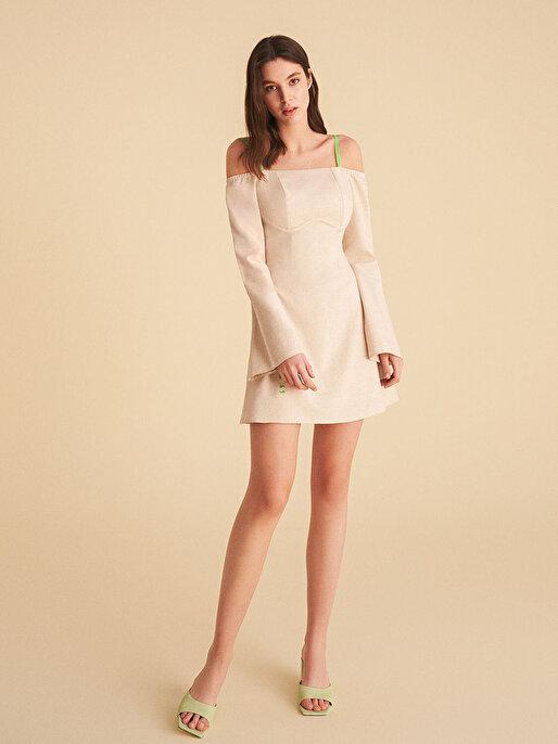 Nocturne Düşük Omuz Mini Elbise