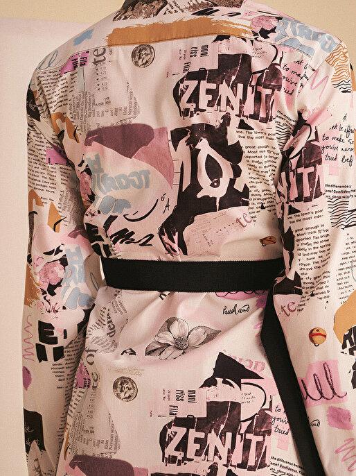 Nocturne Desenli Kruvaze Mini Elbise
