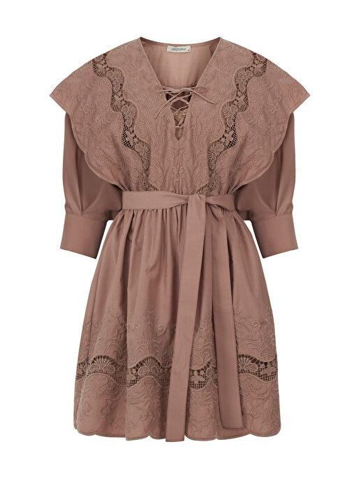 Nocturne Kuşaklı Brode Mini Elbise