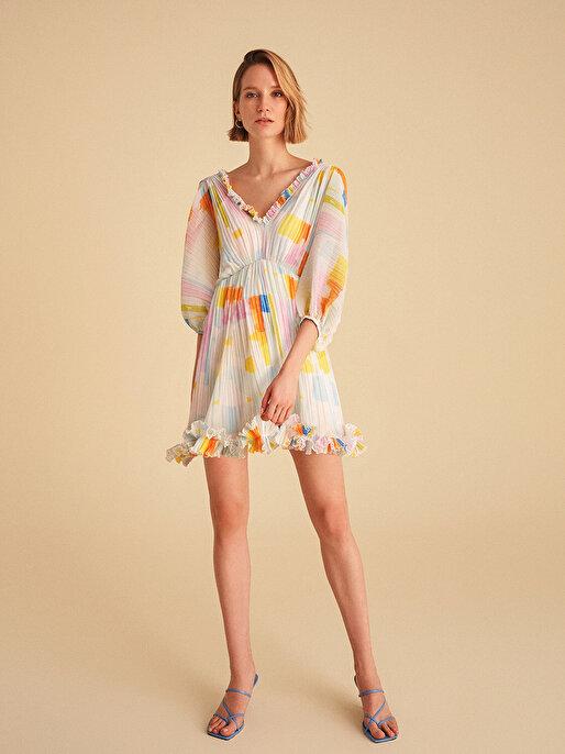 Nocturne Yarasa Kol Piliseli Mini Elbise