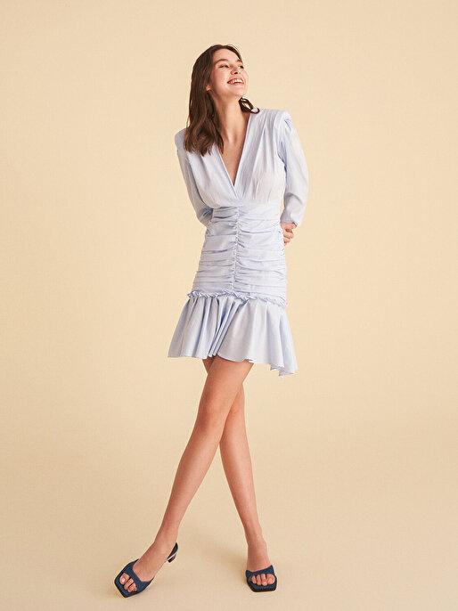 Nocturne V Yaka Büzgülü Mini Elbise