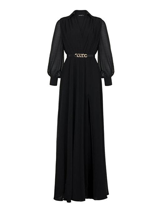 Nocturne Kruvaze Yırtmaçlı Şifon Elbise