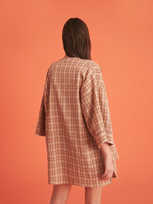Nocturne Düşük Omuz Ekose Kimono