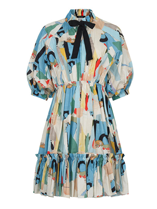 Nocturne Yakası Büzgülü Desenli Elbise