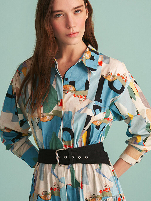Nocturne Desenli Gömlek Yaka Elbise