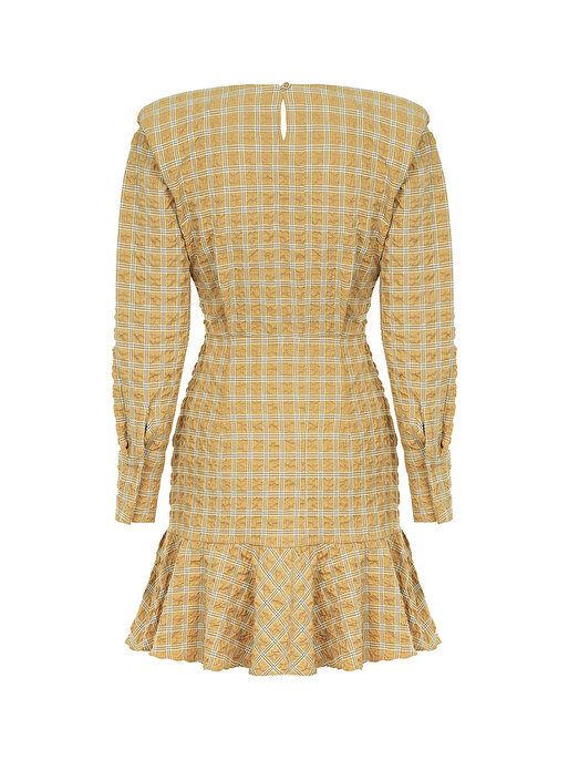Nocturne Vatkalı Ekose Mini Elbise