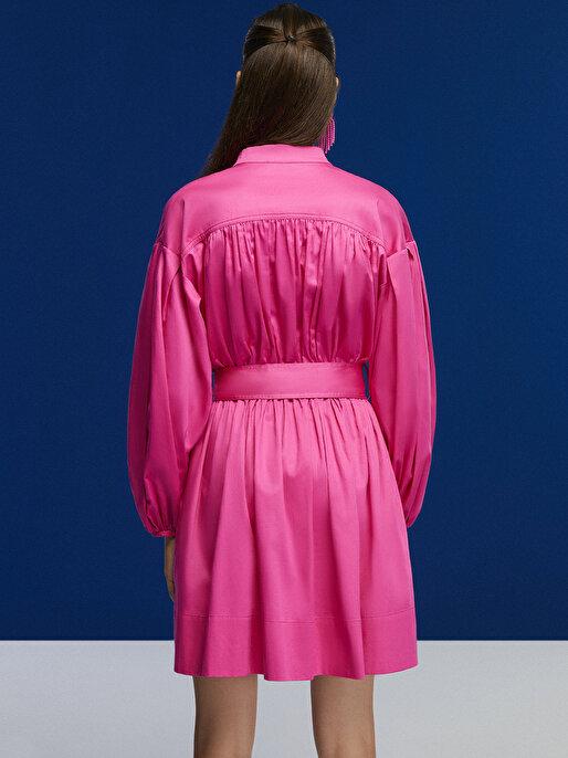 Nocturne Kuşaklı Dik Yaka Mini Elbise