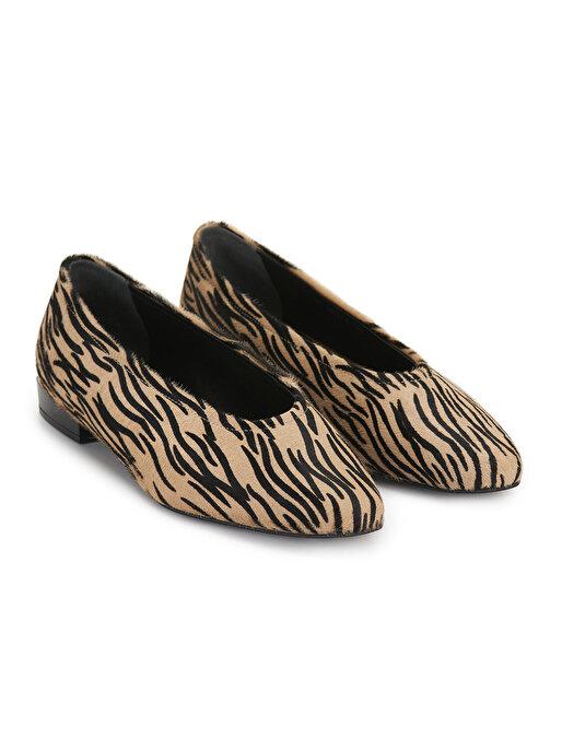 Nocturne Desenli Tay Tüyü Babet Ayakkabı