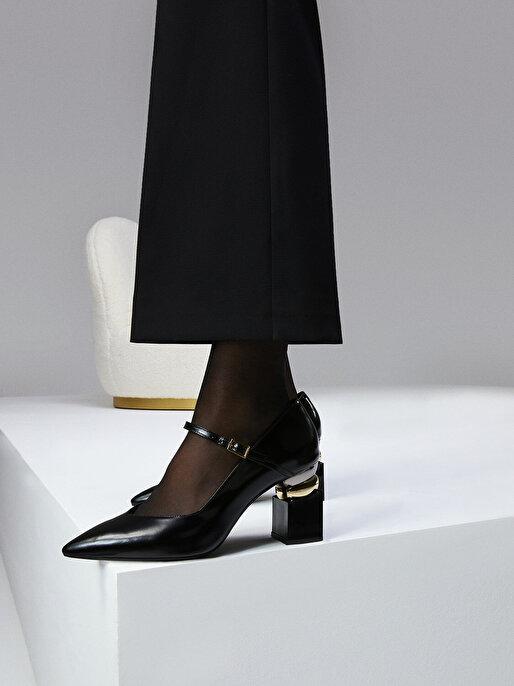 Nocturne Dikdörtgen Topuklu Rugan Ayakkabı
