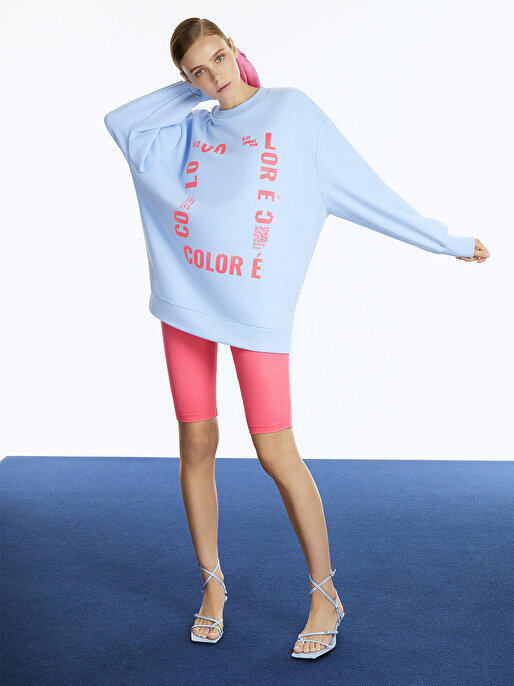 Nocturne Baskılı Oversize Sweatshirt