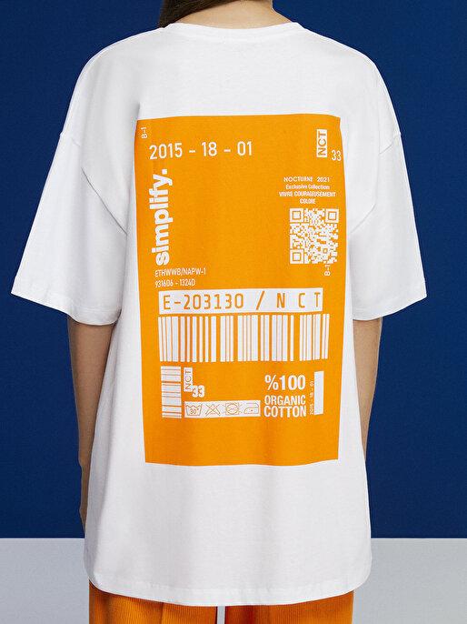 Nocturne Baskılı Oversize Tişört